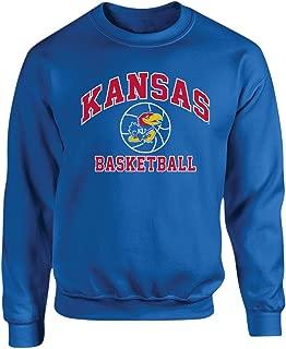 Elite Fan Shop Kansas Jayhawks Crewneck Sweatshirt Basketball Blue