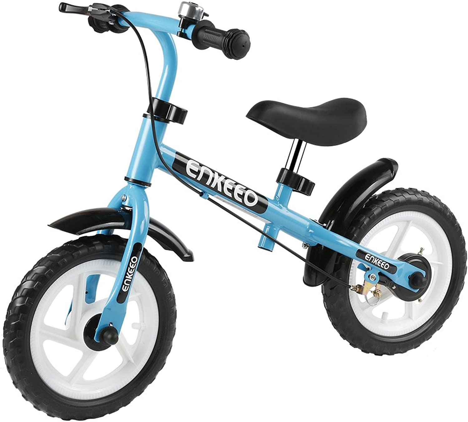 ENKEEO Balance Bike with No Pedal Adjustable Seat & Handlebar, Antirust Carbon Steel Frame, Rear hand Brake, Safe & Comfortable for 26 Year old Kids Toddler, 50kg Capacity (12 Inch,bluee)