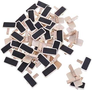 Mini clip per lavagna da 50 pezzi, lavagna per appunti in legno con foto, riapplicare la bacheca per promemoria, segni num...