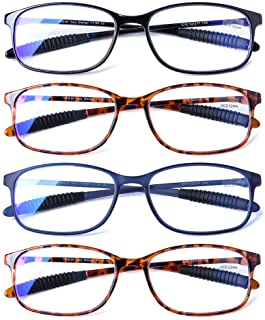 Reading Glasses 4 Pack Blue Light Blocking Anti Eyestrain...