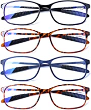 DOOViC Reading Glasses 4 Pack Blue Light Blocking Anti Eyestrain Flexible Lightweight Computer Readers for Men Women