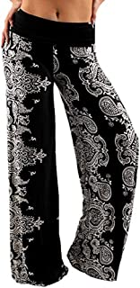 Casual Wide Leg Pants for Women Women's Loose High Waist Straight Stretchy Long Black Palazzo with Pockets
