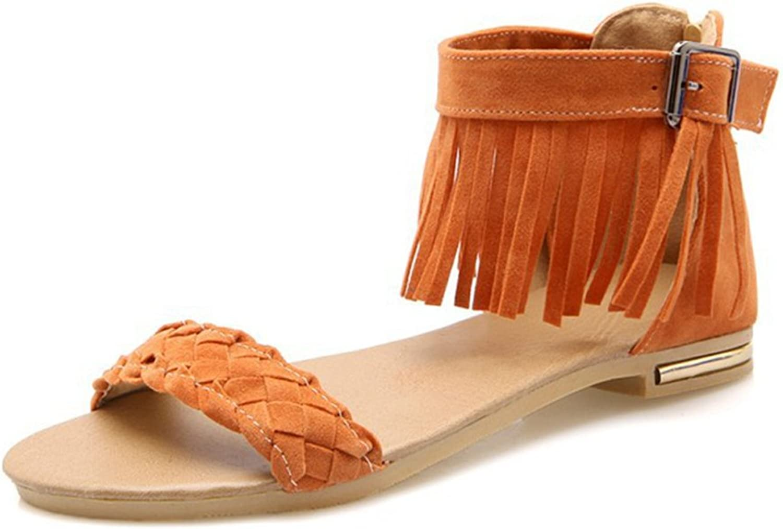GIY Women's Fringe Flat Sandals Open Toe Comfort Buckle Zipper Tassel Casual Roman Dress Sandals shoes