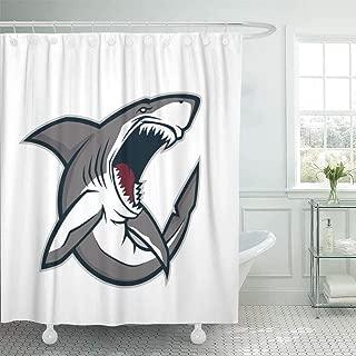 Fabric Shower Curtain with Hooks Gray Angry Shark Mascot Sport Cartoon School Great Fish Teeth Clipart-180cm180cm