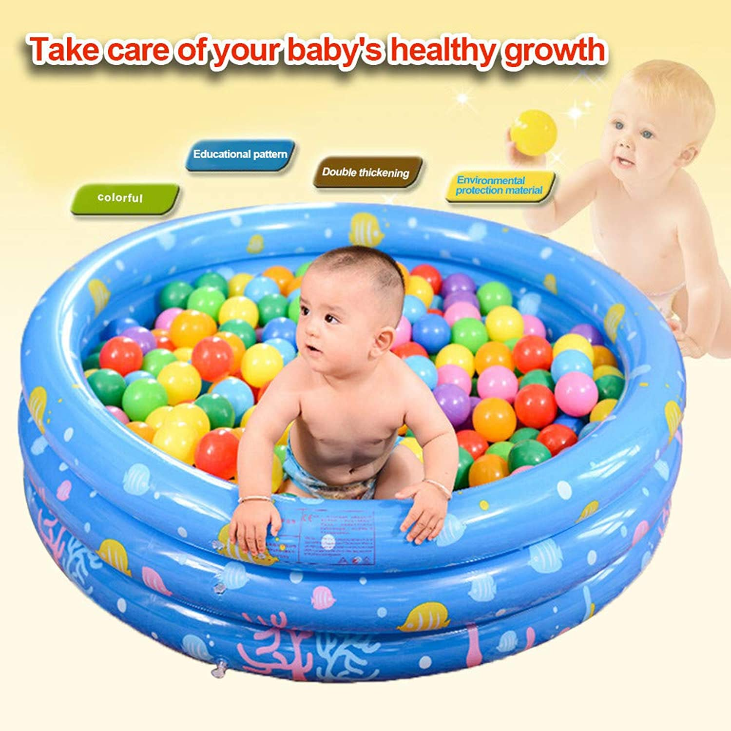 Round Inflatable Family Pool,Swim Center Family Inflatable Kiddie Pool, Ball Pool, Family Kids Water Play Fun in Summer, for Ages 2+ (XL, bluee)