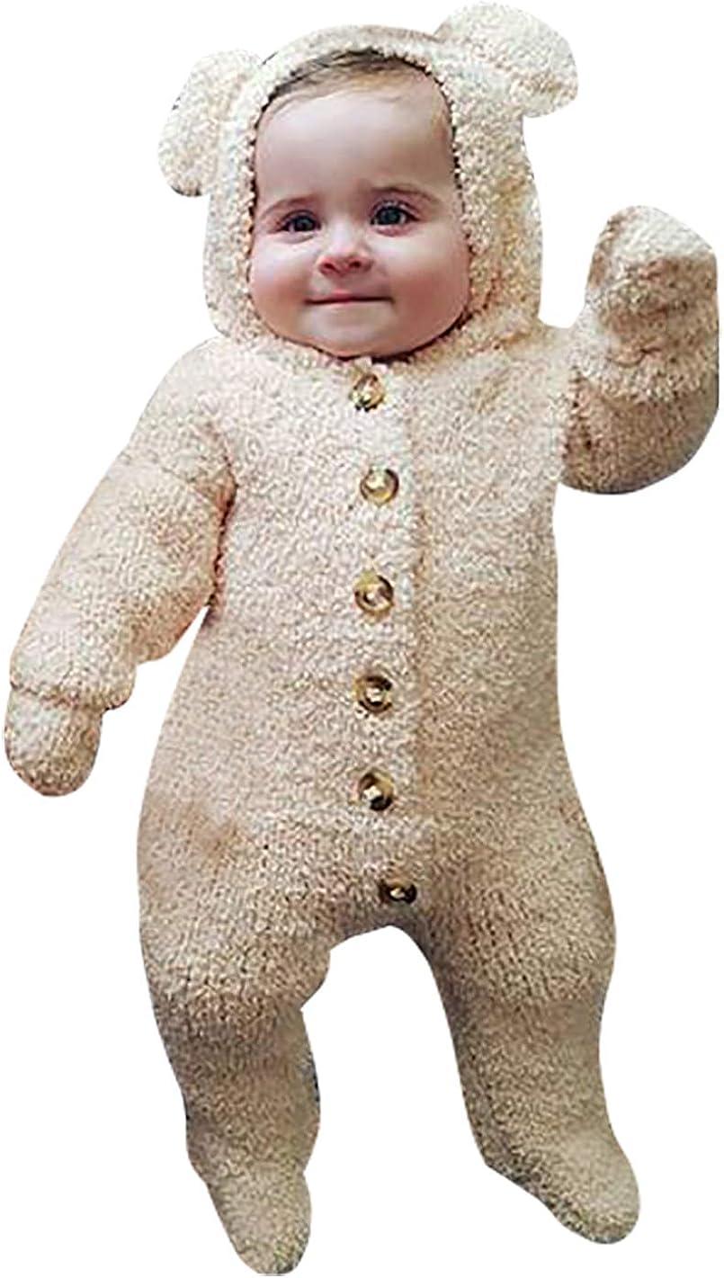 KIDDAD Infant Winter Snowsuit Baby Bear Romper Outfit Fleece Bunting Suit Outerwear Coat Jumpsuit