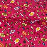 Baumwolljersey Süßigkeiten bunt pink Kinderstoffe