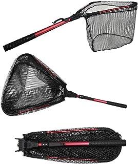 YVLEEN Folding Fishing Net - Foldable Fish Landing Net Robust Aluminum Telescopic Pole Handle and Nylon Mesh 16inch Hoop Size