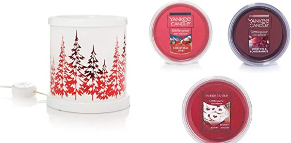 Yankee Candle Winter Trees Collection W LED Timer Scenterpiece Gift Set With A Christmas Eve Sweet Fig Pomegranate And A Merry Berry Linzer Meltcups