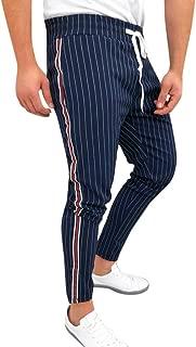 RAINED-Mens Jogger Track Pants Casual Striped Drawstring Sweatpants Athletic Hip Hop Pants Quick Dry Harem Pants