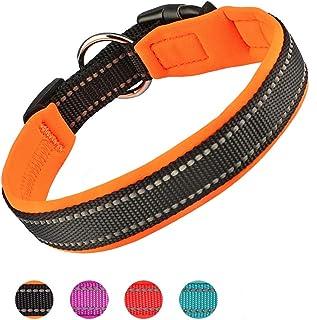 Padded Dog Collar, Weatherproof Puppy Collars, Adjustable Reflective Neoprene Padded Basic Dog Collars