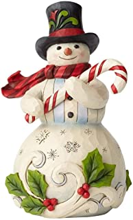 Jim Shore Heartwood Creek Snowman Holding Candy Cane