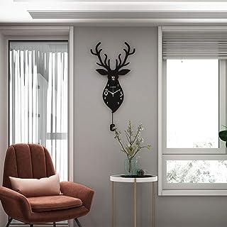 Wall Clock- Wooden/Antlers/Personality/Homepage/Clock, Fashion Wall Clock Mute Creative Clock Wall Clock Living Room Bedro...