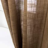 AmHoo Linen Sheer Curtains Premium Heavy Semi Sheer Draperies with Grommet Top...