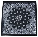 Gigantic 35 x 35 inch Grande Paisley Cotton Black Bandana USA Made