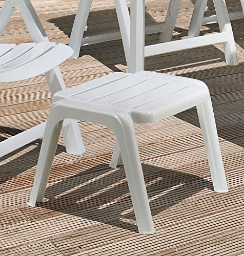 Kettler Rimini Stool Garden Furniture Foot Stool Plastic Painted White
