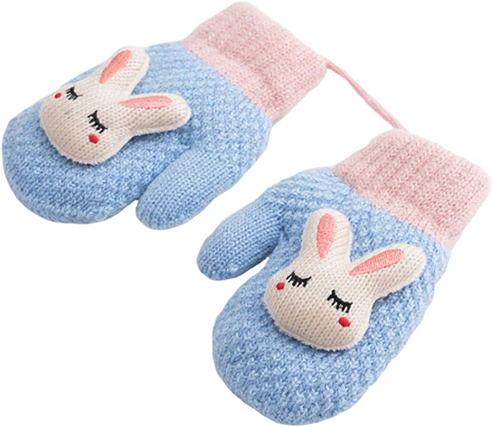 CHUANGLI Toddler Kids Warm Winter Full Finger Gloves Thick Fleece Lined Ski Gloves Mittens with Lovely Bunny Doll