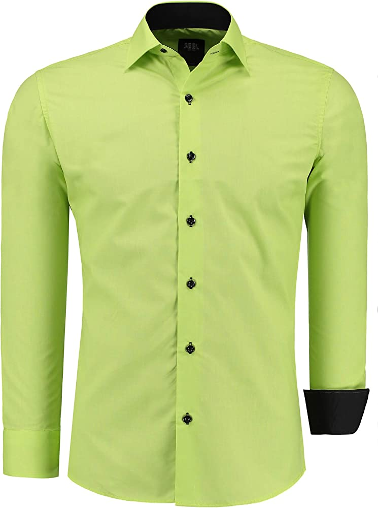 Jeel camicia da uomo - slim fit, a maniche lunghe , 70% cotone, 30% poliestere 12105C
