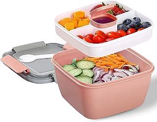 Lunch Box avec 3 Compartiment, Salade Boîtes Repas Adultes / Enfants, Salade Boîte Bento Anti-fuite, Passe au Micro-ondes,...