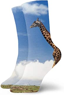 Calcetines men/women Fun Dress Socks -Darkness Eyes Wolf Forest Colorful Funny Novelty Crazy Socks Giraffe Clouds4