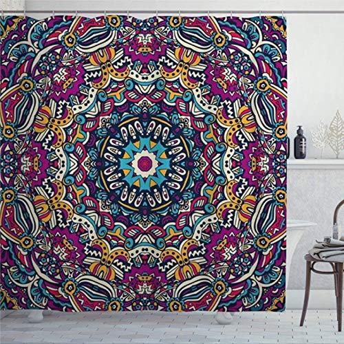Duschvorhang afrikanischer abstrakter festlicher bunter Mandala-Muster, Hippie-Batik-Duschvorhang mit Ringen, Polyester-Stoff, Duschvorhänge mit Haken, Bad-Dekor