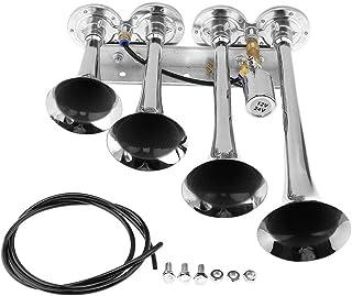BCVBFGCXVB Universal Motorcycle Electric Horn kit 12V 1.5A 105db Waterproof Round Loud Horn Speakers for Scooter Moped Dirt Bike ATV-Black