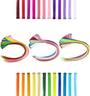 Dreamlover 24 Pack Straight Colored Hair Extensions, Clip in Hairpieces Extensions for Kids, Girls and Women, Multi Colors C