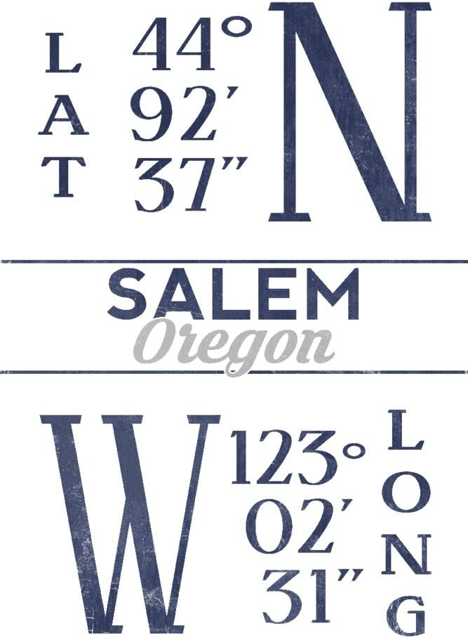 Salem Oregon Latitude and Longitude Jacksonville Tucson Mall Mall 24x36 Galle Blue Giclee