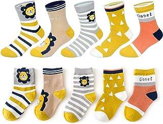 PrettyGift, 5 pares de calcetines para niñas y niños lindos calcetines de algodón de dibujos animados con patrón de león Funky calcetines para niños de 6 a 12 años