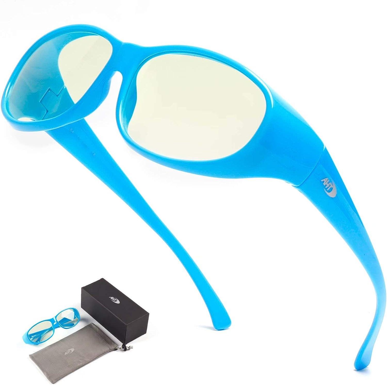 AHT Fit Over Computer Glasses for Women and Men - Blue Light Blocking Glasses(Blue), Wear Over Prescription Glasses/Reading Glasses, Anti Eye Strain/Headache (Sleep Better)