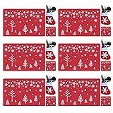 18-teiliges Weihnachts-Platzsets aus PVC, Besteck-Set, waschbar, hitzebeständig, Weihnachtsbaum, hitzebeständig, Tischsets für Esstisch-Dekoration (rot)