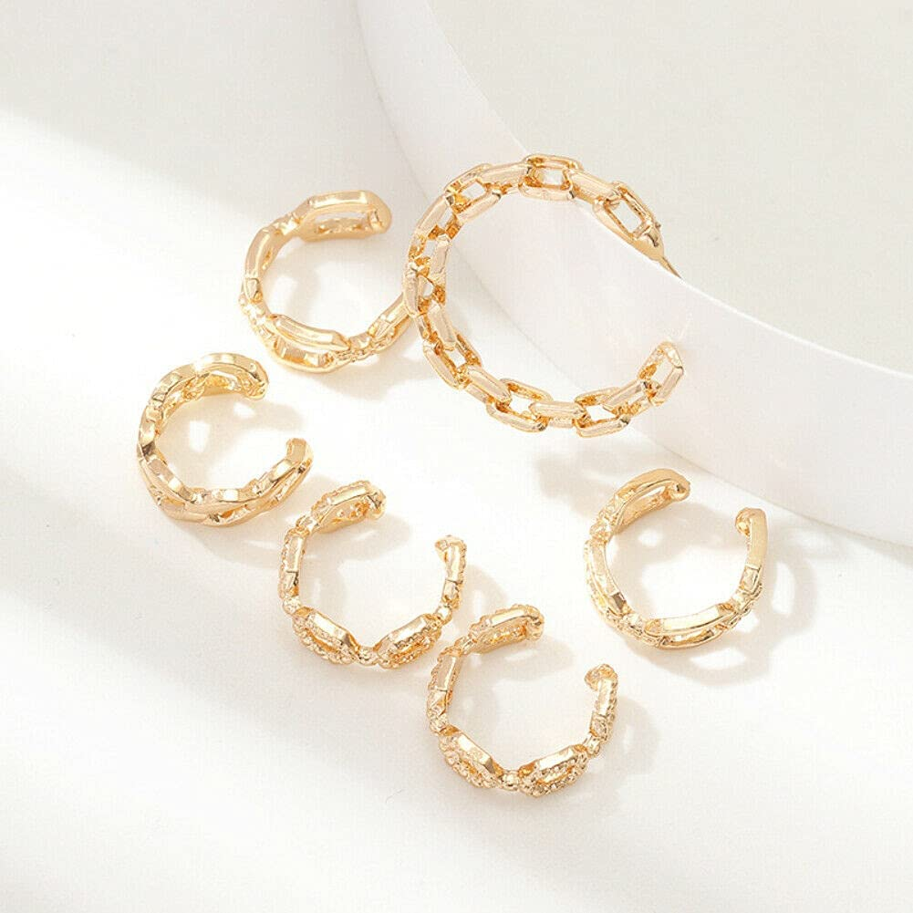 6Pcs/Set Women C Shape Chain Ear Cuff Stud Clip On Earri