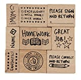 Wood Stamp Set for Teachers, Grading Stamps (9 Piece)...