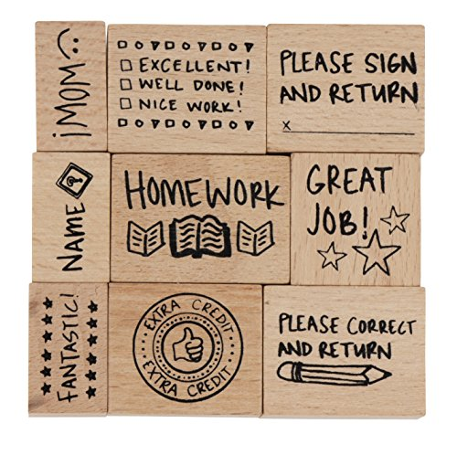 Wood Stamp Set for Teachers, Grading Stamps (9 Piece)