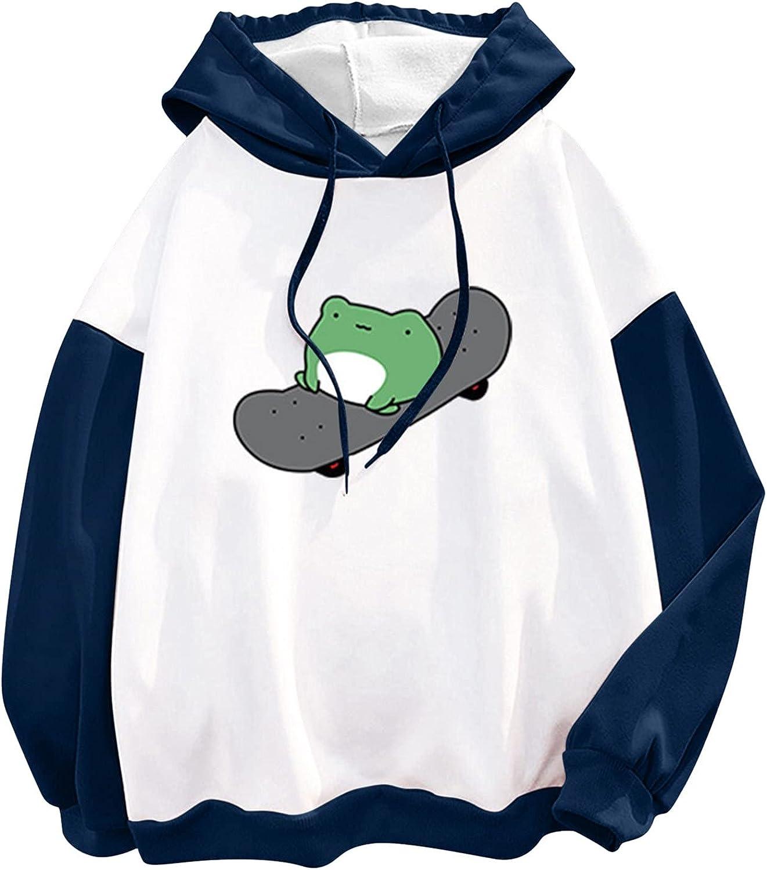 Women Sweatshirt Women's Funny Skateboard Frog Printed Pullover Long Sleeve Shirts Pocket Hoodies Casual Jumper Tops