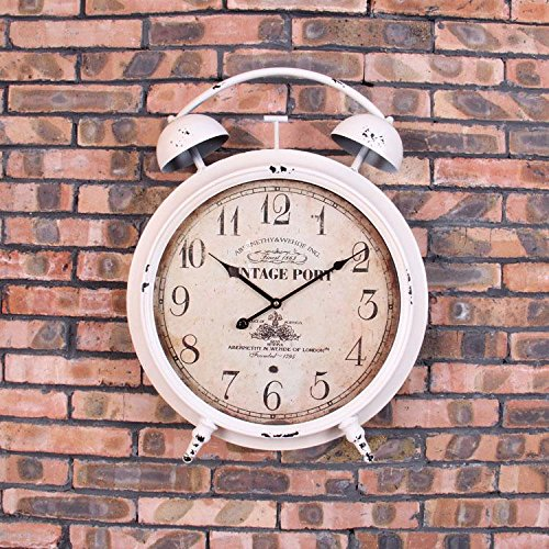 WALL CLOCK American Retro Extra Large Alarm Clock Wall Wall Watch Peut être Décoré Mur Mur Mur Décoratif Mur Autocollant Autocollant, White