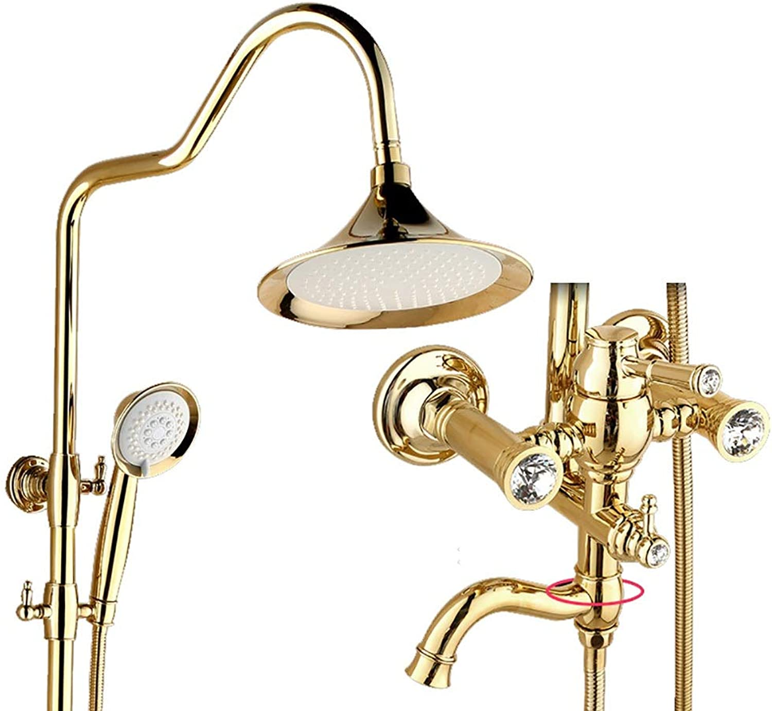 WYRSXPY Shower Bath European Shower Set, Brass Wall-mounted Bathroom Hand Shower Free Lifting redate Cold hot Water Tap (color   gold, Size   C)