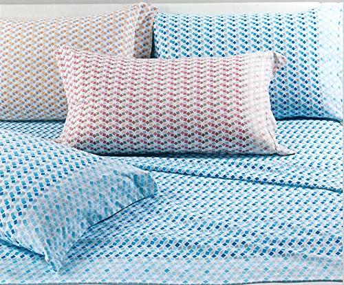 Mistral Flan Azul Juego de sábanas de franela una plaza, 1004288 – Caleffi
