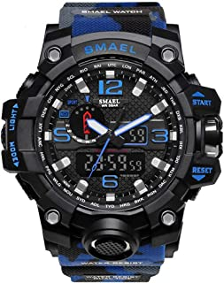 Men's Sports Analog Digital Quartz Military Watch Waterproof Multifunctional Large Dial Wrist Watch for Men