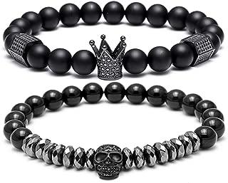 SEVENSTONE 8mm Crown King Charm Bracelet for Men Women Black Matte Onyx Stone Beads