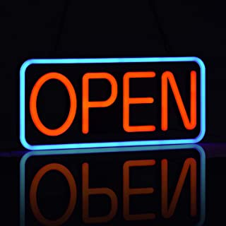 LED Neon Open Sign for Business,Ultra-Long Power Cord,Two Modes Flashing & Steady Light, 21