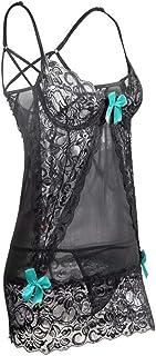 Women's Lingerie Set,Sexy Print Bag Hip Dress Nightdress, Babydoll Erotic Lace Sleepwear,deep V Neckline Nightwear - Pink