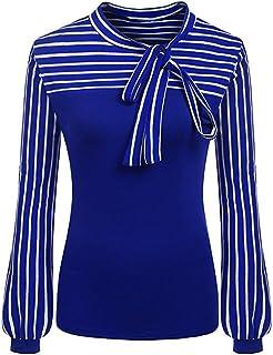 SakuraBest Women Spring Autumn Shirt, Tie-Bow Neck Striped Long Sleeve Splicing Blouse for Womens