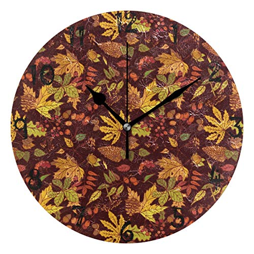Mesllings Reloj de pared circular con diseño de hojas de arce, color amarillo, placa redonda, silencioso, sin garrapatas