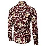 ERNUMK Camisa ajustada para hombre, para el tiempo libre, cómoda, ajustada, de manga larga, con estampado retro, para negocios, con botones, C-rojo., L