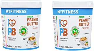 MYFITNESS Gold Natural Peanut Butter Crunchy 1.25Kg (Unsweetened, 1250 GRAMS) (Natural Smooth 1250g + Natural Crunchy 1250g)