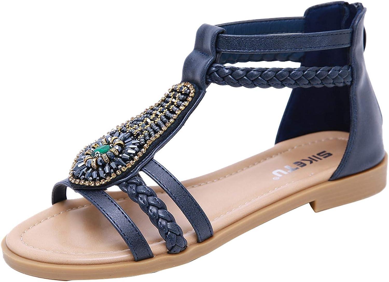 Insun Women's Bohemian Beaded Ankle Strap Zipper Flat Beach Sandals
