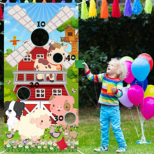 Farm Animals Toss Game with 3 Nylon Bean Bags 1 Safari Toss Banner Indoor and Outdoor Animals Farm Party Game Jungle Animals Bean Toss for Farm Theme Birthday Party Decorations and Supplies
