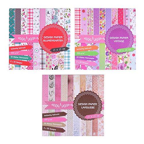 EAST-WEST Trading GmbH 3 x Motivblock mit je 20 Blättern beidseitig Bedruckt, Designpapier, Bastelpapier, 60 Blätter, 60 Designs
