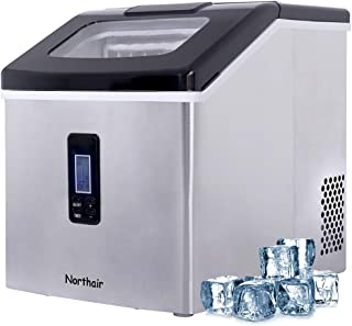Northair Ice Maker Countertop with 40lbs/Day (500 Cups Drinks), 24pcs Ice Cube Produce in 15 Minutes, Compact Ice Make Machine Manual Water Intake Selected S/M/L Square Ice, Stainless Steel
